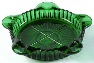 Anchor Hocking Queen Mary Forest Green Coaster/Ashtray   Dark Forest Green, Vert