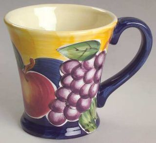 Tabletops Unlimited Di Frutto Mug, Fine China Dinnerware   Grapes, Apples & Plum