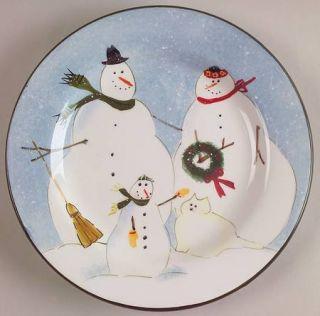Oneida Snow Family Salad Plate, Fine China Dinnerware   Snowmen Rim,Inner Red Li