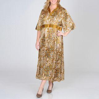 La Cera Womens Plus Size Animal Print Lounge Dress