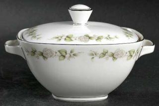 Franconia   Krautheim Cindy Sugar Bowl & Lid, Fine China Dinnerware   White Flow