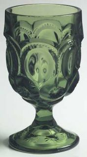Smith Glass  Moon & Star Green Water Goblet   Dark Green