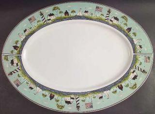 Sakura Coastal Breeze 21 Oval Serving Platter, Fine China Dinnerware   Warren K