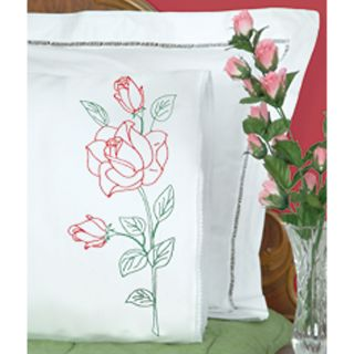 Stamped Pillowcases With White Lace Edge 2/pkg long Stem Rose