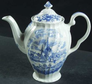 Johnson Brothers Tulip Time Blue (White Background) Coffee Pot & Lid, Fine China