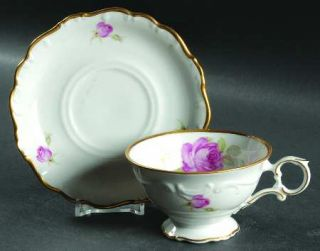 Schumann   Bavaria La Vie En Rose Footed Cup & Saucer Set, Fine China Dinnerware
