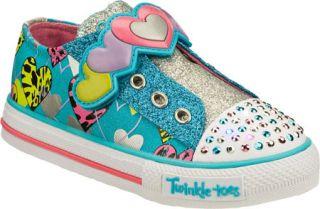 Infant/Toddler Girls Skechers Twinkle Toes Shuffles Slide Step   Blue/Pink Vege