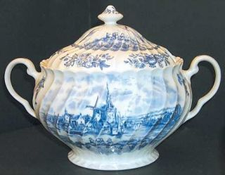 Johnson Brothers Tulip Time Blue (White Background) Tureen &  Lid, Fine China Di