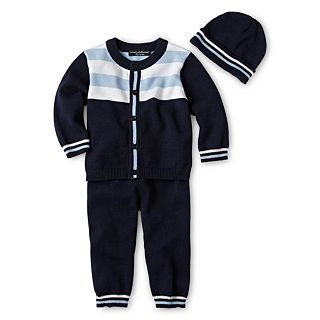Wendy Bellissimo 3 pc. Sweater Set   Boys newborn 9m, Navy, Boys