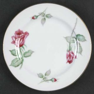 Wentworth Rosita Bread & Butter Plate, Fine China Dinnerware   Red Roses, Rim Sh