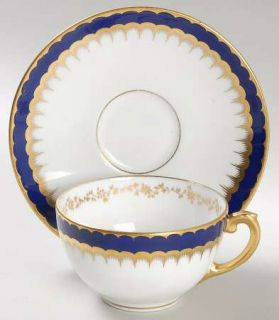 Coalport 6143 Cobalt Blue Footed Cup & Saucer Set, Fine China Dinnerware   Cobal