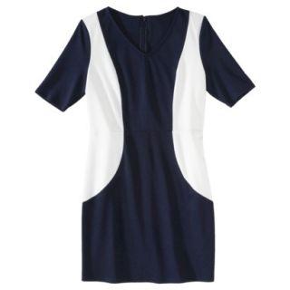Merona Petites V Neck Colorblock Ponte Dress   Navy/Cream XLP