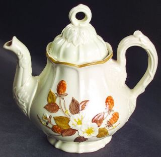 Metlox   Poppytrail   Vernon Autumn Berry Teapot & Lid, Fine China Dinnerware