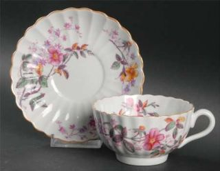 Spode Roberta Orange (Scallop) Footed Cup & Saucer Set, Fine China Dinnerware