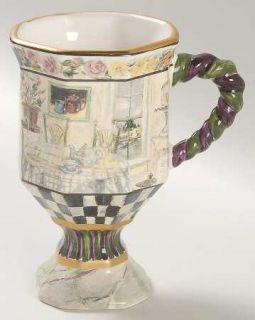 MacKenzie Childs Maclachlan Pedestal Mug, Fine China Dinnerware   Black/White Ri
