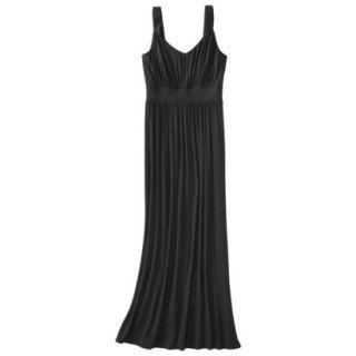 Merona Womens Knit V Neck Ruched Waist Maxi Dress   Black   S