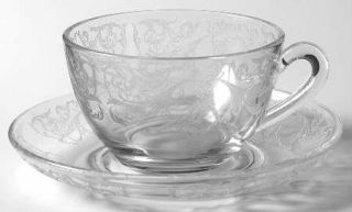 Central Glass Works Morgan Clear (Stem #750) Cup and Saucer Set   Stem #750, Etc