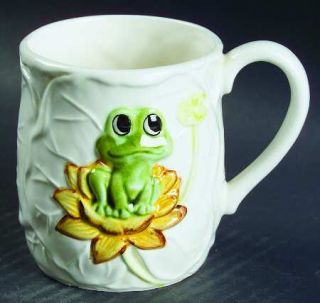 Frog Family Sculpted Mug, Fine China Dinnerware   Green Frogs & Band, Yell