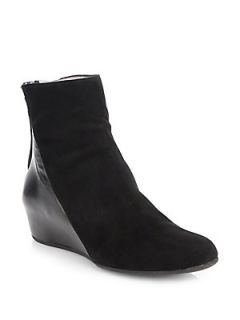 Aquatalia by Marvin K Ursa Suede and Leather Ankle Boots   Black