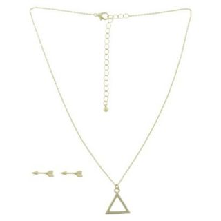 Arrow Stud Earring and Triangle Necklace Set   Gold