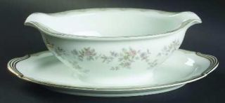 Noritake Roberta Gravy Boat with Attached Underplate, Fine China Dinnerware   Ta