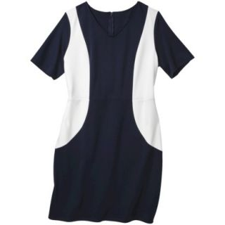Merona Womens Plus Size V Neck Colorblock Ponte Dress   Navy/Cream 2
