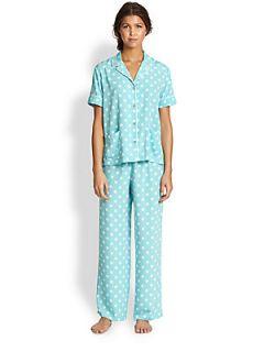 Natori Polka Dot Short Sleeve Pajamas   Aqua