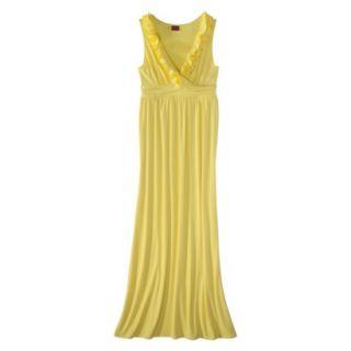 Merona Womens V Neck Ruffle Maxi Dress   Yellow Ray   S