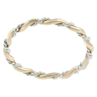 Tressa Collection Sterling Silver and Goldfill Twist Ring   Gold 6