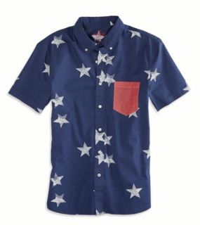 Blue AE Stars Short Sleeve Button Down Shirt, Mens S