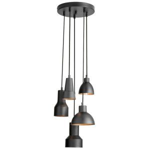 Dainolite DAI IC 105P BLK Industrial Chic 5 Light Round Pendant, Black /Gold Fin