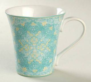 222 Fifth (PTS) Eva Teal Mug, Fine China Dinnerware   Teal,White,Lace,Rim,Smooth