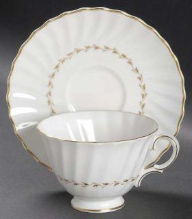 Royal Doulton Adrian Footed Cup & Saucer Set, Fine China Dinnerware   Inner Gold