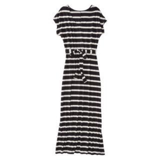 Merona Womens Knit V Neck T Shirt Maxi Dress   Black/White   L