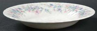 Wedgwood Angela Rim Soup Bowl, Fine China Dinnerware   Pastel Flowers, Swirled E