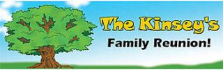 Family Tree Autograph Personalized Self Adhesive Vinyl Banner    18 x 54 Inches, Blue, Green, White