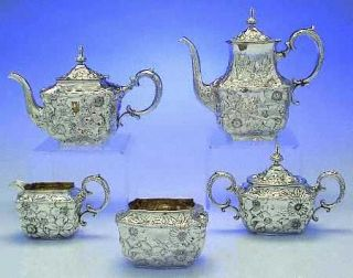 Whiting Division Lily (Strl,1902,Old Estate,Hollowware) 5 Piece Sterling Tea Set