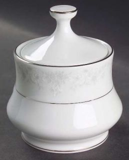 China Pearl Annie (White&Gray Desgn) Sugar Bowl & Lid, Fine China Dinnerware   W