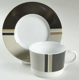 Studio Nova High Society Flat Cup & Saucer Set, Fine China Dinnerware   Beige, T