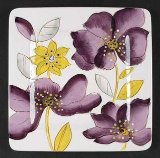 Laurie Gates Anna Lily Salad Plate, Fine China Dinnerware   Purple&Yellow Floral