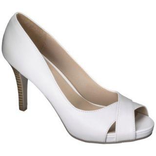Womens Xhilaration Angela Peep Toe Pump   White 7
