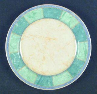 Interiors (PTS) Giovanna Salad Plate, Fine China Dinnerware   Green Band, Purple