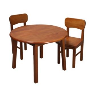 Kids Table and Chair Set: Rnd Table & Two Chair Set Honey