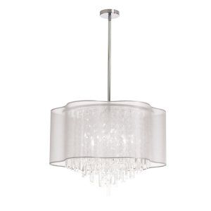 Dainolite DAI ILL 206C PC 819 Illusion 6 Light Pendant With Ww Lam Organza Shade