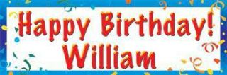Happy Birthday Personalized Vinyl BannerBlue    60 x 180 Inches, Blue, Orange, Red, White