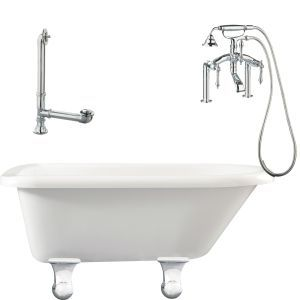Giagni LB3 PC Brighton Roll Top Tub with Cannonball Feet, Drain, Supply Lines &