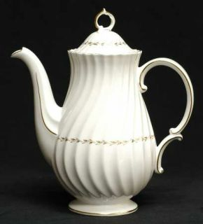 Royal Doulton Adrian Coffee Pot & Lid, Fine China Dinnerware   Inner Gold Laurel