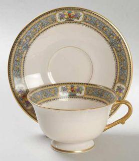 Morgan Belleek (USA) Orient Footed Cup & Saucer Set, Fine China Dinnerware   Blu