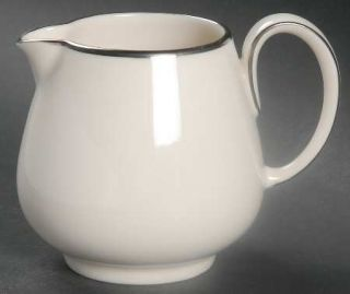Noritake Ivonne Creamer, Fine China Dinnerware   Ivory With Platinum Trim, Coupe