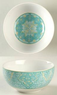 222 Fifth (PTS) Eva Teal Soup/Cereal Bowl, Fine China Dinnerware   Teal,White,La